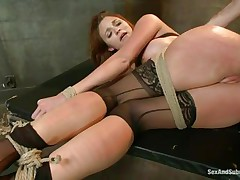 After breaking her self esteem it's time for that sexy ass to be exploited. Kenzie finds out that this babe loves being treated like a worthless doxy and when the executor fingers her and spanks these sexy legs this babe begs for more. A big hard schlong enters her tight anus, making Kenzie moan with great lust.