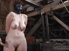 This fucking whore gets what she deserves. All tied up and with her face overspread with leather mask, she expects full love tunnel treatment. The mysterious man plays hard with her nipples and love tunnel and is driving her crazy. That guy uses magic electric wands filling Holly with raunchy desires. Let`s see her bondage fantasies!