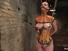 That hottie was a very bad milf, that hottie dominated and fucked a lot of gals and now it's time for her to be disciplined. Her love tunnel is beginning to acquire really soaked because the dark brown domina tied her, added clamps on her nipps and pulled 'em hard. That hottie is immobilized and now has to suffer until that hottie will become an obedient slut.