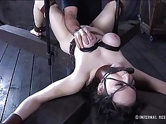 This brunette is milky white and her cum-hole is so taut and perfect that they had to gape it and disclose the inside of it. Have a joy watching this bitch in a uncomfortable position as her large soft love muffins are squeezed and sucked and her throat gagged. Four clamps are added on her alluring cum-hole to gape it for our sight