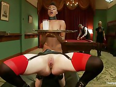 Horny Juliette is licking Nikki`s tight pussy, during the time that getting fucked very hard. That babe is moaning with fun and receives her love tunnel spanked so hard, during the time that Nikki receives her ass whipped. Nikki is the waitress tonight and has to hold a coaster and be careful not to spill it, even though she is almost cumming!