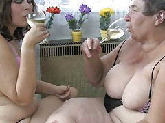 Large overweight granny Eva and her younger girlfriend are having a worthwhile time together. Eva shows her younger bitch how it's done by rubbing her overweight love tunnel with a dildo. They then use a double ended marital-device to double the joy and even take a short break, drinking a glass of wine. Desire to discover out what these bbw are up to next?