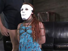 Hope Claire can't live without games coz she's part of one. The marvelous redhead wears a mask but not for long, pretty in a short time her mask is removed and that babe is knelt in front of her executor's cock. That dude grabs her by the head and begins mouth fucking this bitch hard and merciless. Is Claire going to gag with his semen?