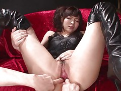 This innocent looking fur pie named Megumi is a fucking whore. She was laying on that sofa burning with lust when I came and start playing with her holes. Megumi offered her butt and enjoyed what I did to it. Using some sex toy I glad this bitch and stuffed her rectal hole and that juicy and juicy pussy.