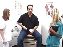 Mike goes to the doctor to see what's wrong with his dick. Two nurses, Karen and Jenna, inspect his ramrod by making him jerk it in front of them. They help him give a sperm sample by taking turning jerking his penis.