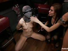 She had her entire face overspread in a mask they cut open a gap in front of her face hole and used that gap to insert a big powerful dick into her mouth. fat lady gets a bit of coddling from the chap before he gets back to fucking the face hole of the tied up girl and punishing her they want to fuck her hard.
