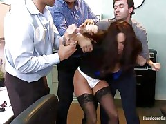 Ava Addams is a hawt French lady with nice large titties and wide ass. This hawt milf got attention of several of her colleagues and one day they decided to bang her at the office. So, James, Danny and Ramon get crazy in her presence and strips her against her will and they start fucking her with pleasure!