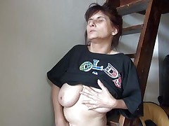 Old lady Vlasta receives so turned on on a ladder and takes her clothes off, during the time that touching her vagina and tits so hard. That babe keeps fingering her wet cunt and groaning with so much pleasure. Then, the bitch sits down and spreads her legs 'coz she is ready to cum on a little red slide. Wanna know how this`ll end?