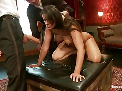 Brunette wench Penny is a slave at a sex party. This babe is made to engulf hard cocks, then gets her wazoo spanked. A large vibrator will solve the situation very well, making her cunt so wet and hot. The guy sticks his dick in her pussy from behind, but she wants to engulf some more and begins sucking the dildo!