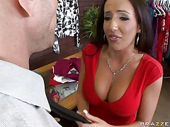 Johnny Sins is getting on one of his workers for trying to  steal something. Look at her long hair, her large fat tits and the way this babe groans while he licks her hard nipples. Do u think this babe is going to take some cock in that obscene mouth?