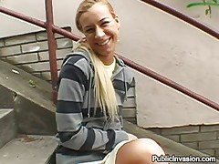 Angelina is showing not only her love to this guy for cash but smth extra too. This babe is a cute slut with lengthy golden-haired hair, a large hot throat and a pair of hot legs with a cum asking vagina betwixt them. This babe shows us her beautiful natural breasts and then widens her legs right there on these stairs, revealing her cunt that this guy fingers. Will she end up sucking his dick?