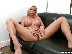 Floozy with short blond hair, Deadra Dee, is showing her big titties and widening her legs as this chick spreads her cookie for you too. See her wet cookie as this chick is masturbating for pleasure. On a couch, expecting for a 10-Pounder with her nude body this bitch is ready to get screwed hard. And as a cock came, this chick started fellatio instantly!