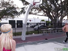 Chloe Foster tried to hit the court for some one-on-one basketball, but that babe has no skill for the game. That babe does have some off-the-court skills though, like sucking cock. After the fellow bench crams her and squeezes her diminutive tits, that babe acquires on her knees and pulls out his pole, sucking it greedily.