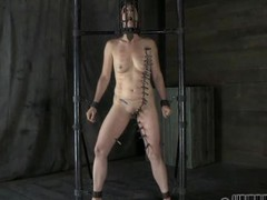 Gagged angel with clamped nipples receives wild pleasure