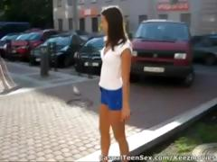 Juvenile fellow picks up cute brunette hair in the parking lot and takes her home to fuck