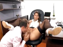 His secretary likes a big boner in her gap