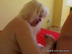Chubby golden-haired amateur wife sucks and bonks