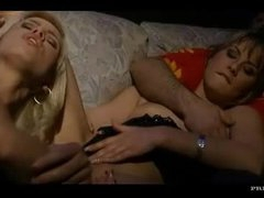 Guy watches 2 babes in a threesome
