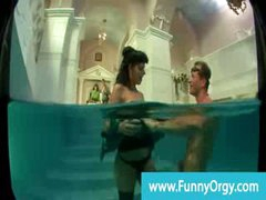 Rich horny cfnm milf gets gangbanged in the pool