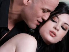 Perverted angel in collar is perfect girl in submission to him