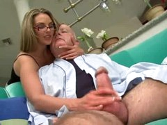 Super hot beauty in glasses fucked by chunky old guy