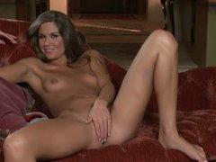 Slender Adrienne Manning takes off her panties