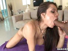 Yurizan Beltran shoves a stiff dick down her mouth
