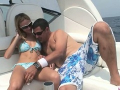 Blond michelle lays on the boat and acquires her slit licked