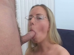 Blonde in glasses sucks cock and gets fur pie pounded