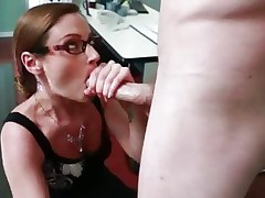 Samantha Ryan shoves this hard dick down her face hole