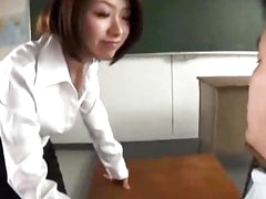 Teacher Giving Oral-job For Her Student In The Classroom