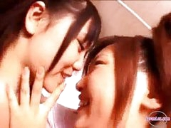 2 Beauties In Aerobic Dress Kissing Rubbing Bumpers In The Bathroom