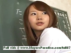 Super sexy asian schoolgirl in the classroom