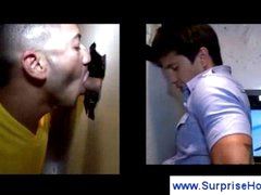 Perverted homosexual guys into blowjob act
