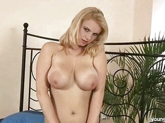 Busty blond masturbating