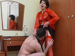 Hot mamma in red nylons getting to facesitting previous to wild muff-splitting