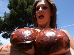 Sara Stone has the almost all amazing set of giant freakish natural love bubbles that are just beautiful. This Babe can't live without to drink cum right off her giant love bubbles after a valuable hard fucking. Those FREAKISH love bubbles receives u hard instantly during the time that they bounce up and down, and overspread with chocolate frosting...