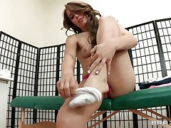 Hot babe Alyssa Branch is taking all her clothing off and receives ready for a hot massage. You can watch her long legs, her fine tits and her hawt body getting oiled and receives ready for some treatment. Do you think she is going to get some cock for being a fine girl?