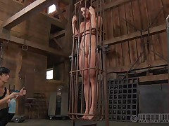 A metal cage and a harsh mistress is all that this cunt needs to be disciplined. Stick around and have a fun how the mistress plays with this naked cutie and how obedient she will become. Every nasty doxy merits a treatment like this!