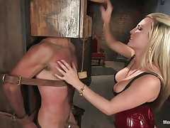 Domina Harmony doesn't allows men to do what they want, so, with the help of her chains and all sorts of simple but efficient tools she punishes this muscled guy, first by adding clothespins on his face and then by thrashing him while he's in chains. She does her job perfectly and soon this fellow will be resigned enough