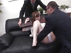 Now here's a concept that works! A horny oriental milf secured with a servitude device seems not agree what's going to happen with her large booty. But after the man cuts her panties with scissors and inserts his finger in her tight shaved asshole she suddenly starts moaning and enjoys the treatment.