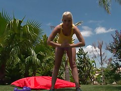 Watch this blonde playgirl as she works out her hawt body. After a few exercises she takes off her clothes and discloses that hawt body, this playgirl has long hawt legs, a cute ass, small hawt boobs and long gorgeous legs. This babe is showing us what she has and makes our cocks hard.