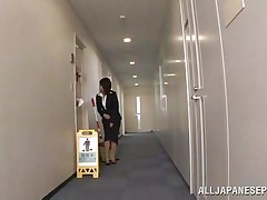 Japanese cunt wants to piss, but doesn`t know where. That babe asks a worker, but he doesn`t aid her and she pisses outside the building. This chab follows her and watches her. Then, he becomes so slutty and starts to play with her moist pussy, recording it at the same time. They go to hide from others when she sucks his cock.