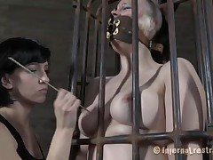 Yeah bitch, u deserve this punishment. U thought that anything needs to be your way and always had lack of respect. Let's see u in that cage how punk u are now. It's a bit humiliating for such a bad a-hole girl like u to be caged, tied and twat rubbed isn't it? Stay there and shut the fuck up.