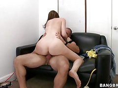 What a slutty chick Desirae is and this babe fucks with a pervert smile on her face. This nice-looking cutie rides the guy and takes his finger in her face hole previous to this guy drills her from behind. This babe knows that cum is about to be ejaculated from that hard penis so this babe knees in front of him and with that nice-looking face and innocent eyes this babe looks at her fellow masturbating waiting for his jizz, this guy gives her a large load and now she's happy, look at that smiling face with cum all over it.