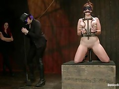 And so is a kinky session of bdsm! This doxy stays in her knees all tied up and with her love melons squeezed while her mistress, just like she is, has a blindfold around her eyes. The mistress spanks the slut with an electric wand and the rest is for you to watch and have a fun it!