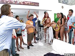 Kelly Divine, Diamond Kitty, and Ashli Orion invade a college dorm for some fun and fucking. Ashli takes a dildo in the wazoo with Diamond holding it for a game of ring toss. The winner receives to take up with the tongue Ashli's brown eye, then acquire his salad tossed, acquire a blowjob, and fuck a girl anally for the first time.