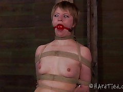 What do we have here? It's the blonde doxy Pi, all fastened up and still wearing her panties. Some whipping warms her up and then the executor puts clamps on her fragile nipples in advance of cutting a hole in her pants to show us her cunt. Her pussy looks damn fine but it's time to take those pants off and get to business