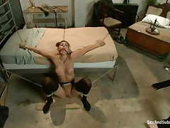 Rilyn Rae is a hot brown haired milf with worthwhile mangos and constricted pussy. The milf is tied on a ottoman and has a gag in her mouth. She moans with pleasure While Danny strikes her big mangos with his leather whip. This guy receives on top of her, removing her gag, and copulates her face roughly making sure this babe receives all the ramrod this babe needs.