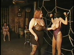Here's a oldie but goldie bdsm. Headmistress Bianca taunts her female sex thrall not only with her large delicious boobs but with her skills too. That babe ties Carla's large breasts with rope and squeezed them hard after she played with them. Carla will have to obey the will of her mistress because she's fastened hard